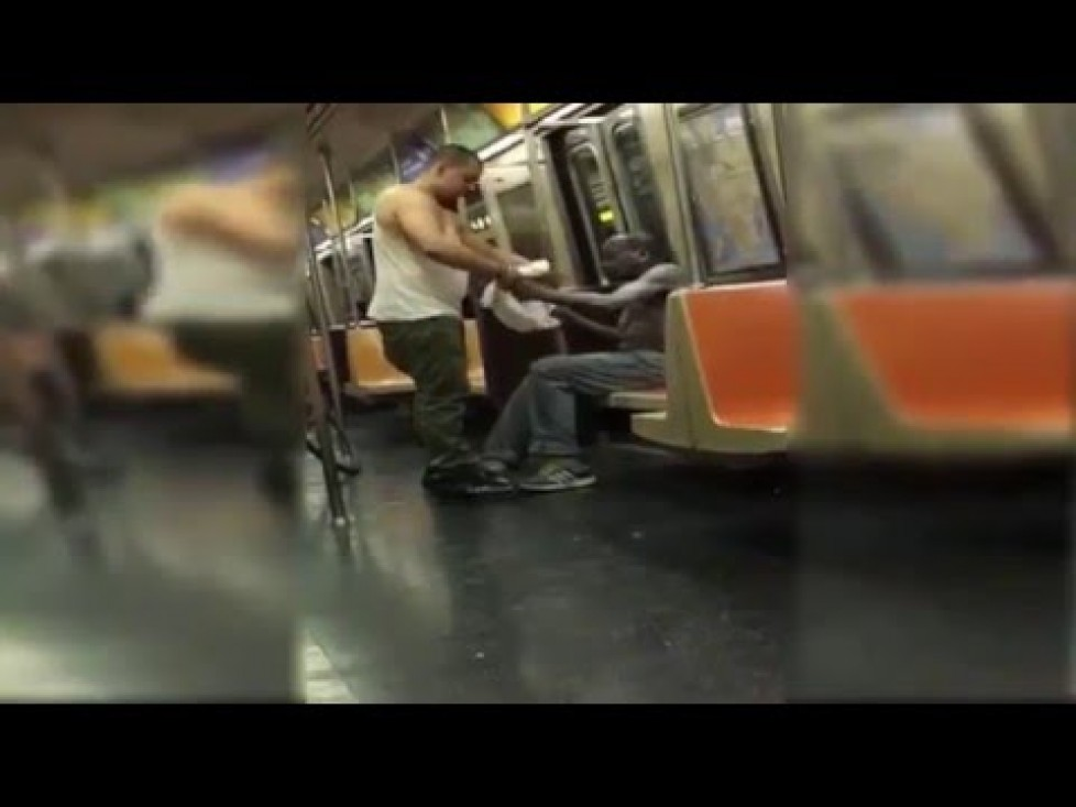 Guy Gives His Clothes To A Homeless Man On A NYC Train