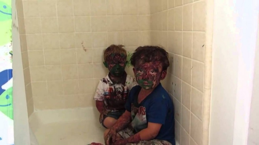 Kids Play With Paint All Over Their Faces